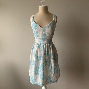Zara Blue Floral Print Mini Dress with back cutout